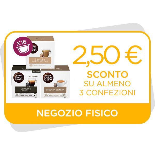BUONO SCONTO DA 2,50€ VALIDO SU ALMENO 3 CONFEZIONI 16 CAPSULE Immagine